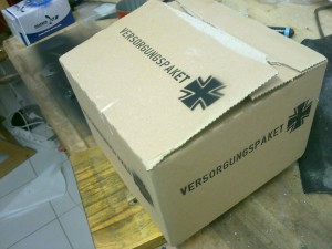fertig besprühte Kiste