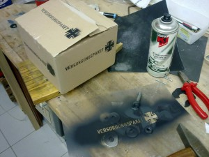 Sprühschablone und das Endprodukt